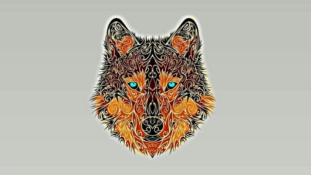 Minimalistic wolf wallpaper