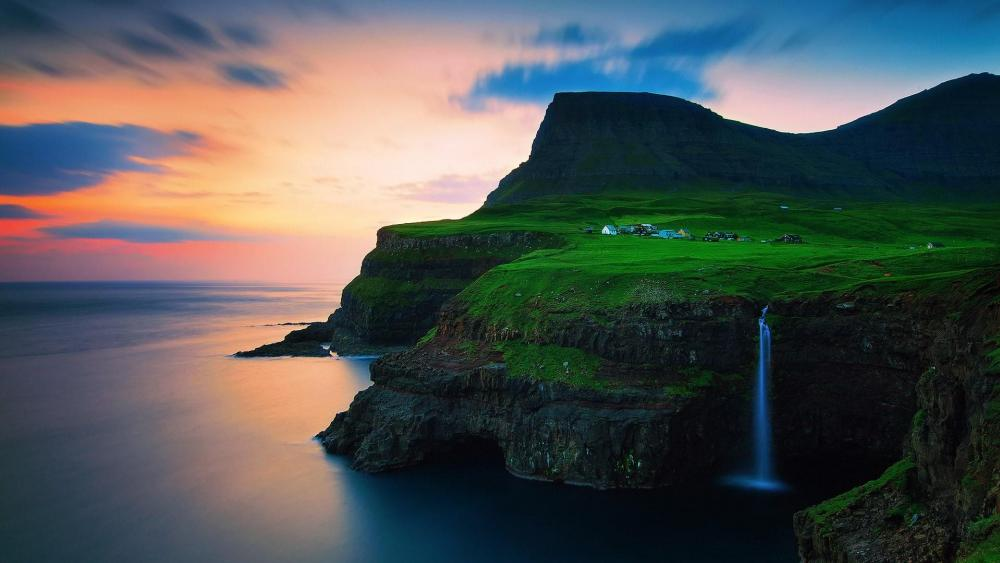 Mulafossur Waterfall - Vagar Island, Faroe Islands wallpaper