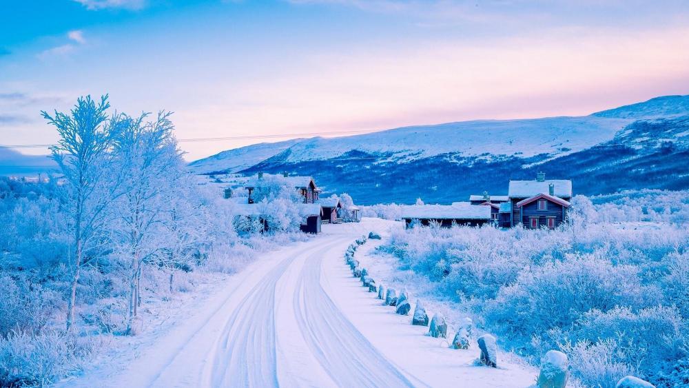 Winter village wallpaper
