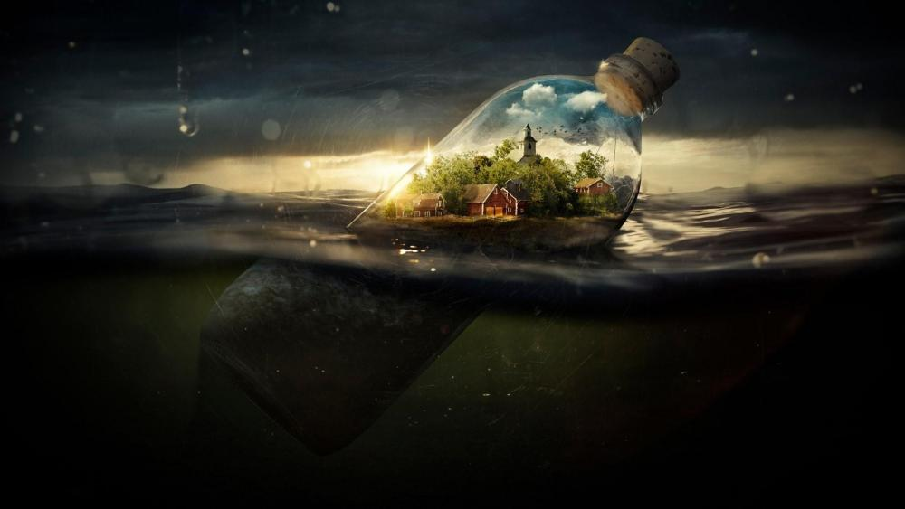 Fantasy world in a bottle wallpaper