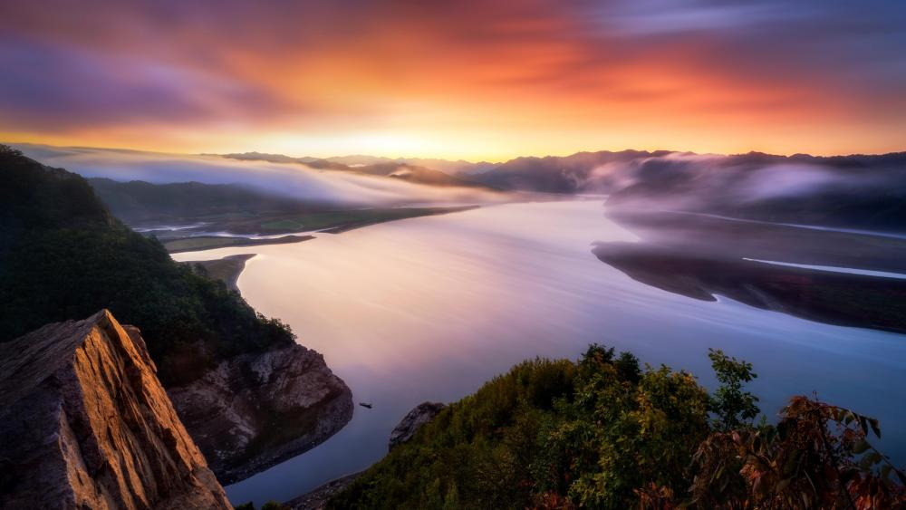 Yalu River Sunrise wallpaper