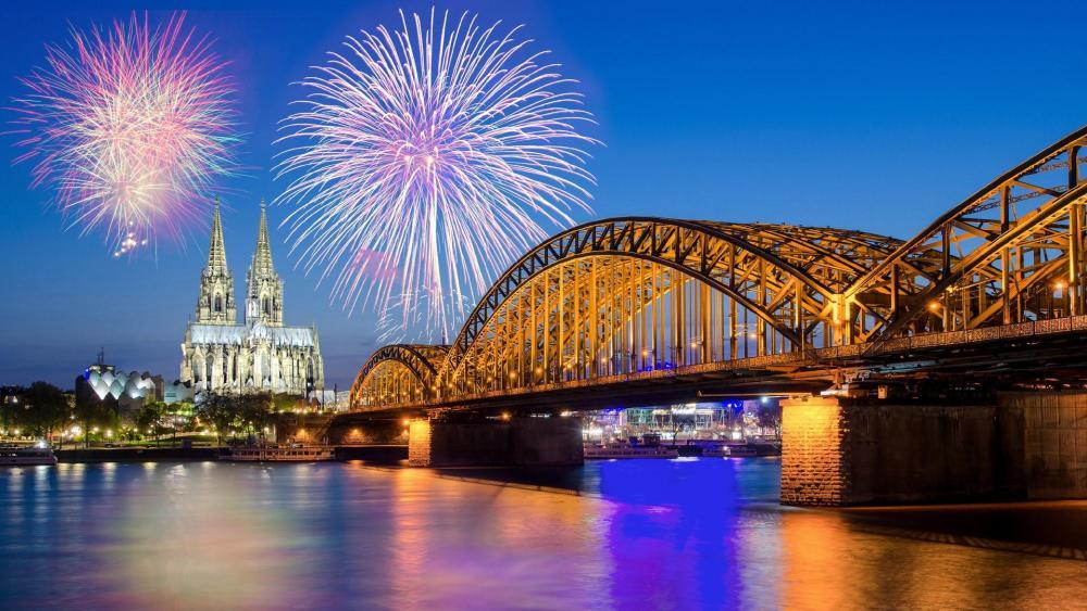 Cologne fireworks wallpaper