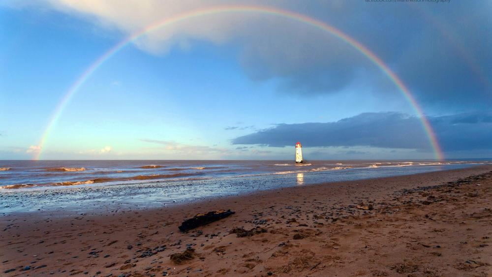 Rainbow and sea wallpaper