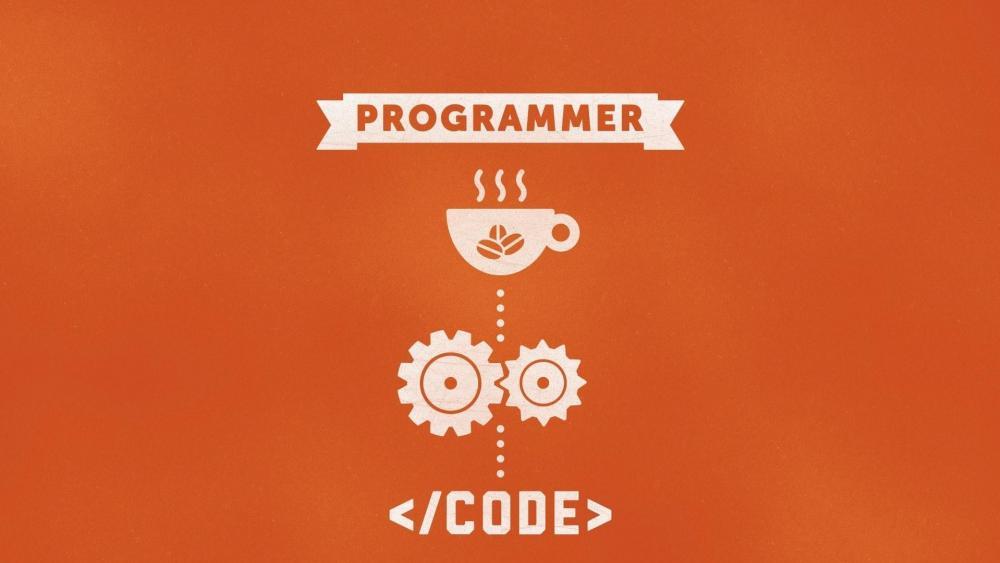 Funny programmer illustration wallpaper