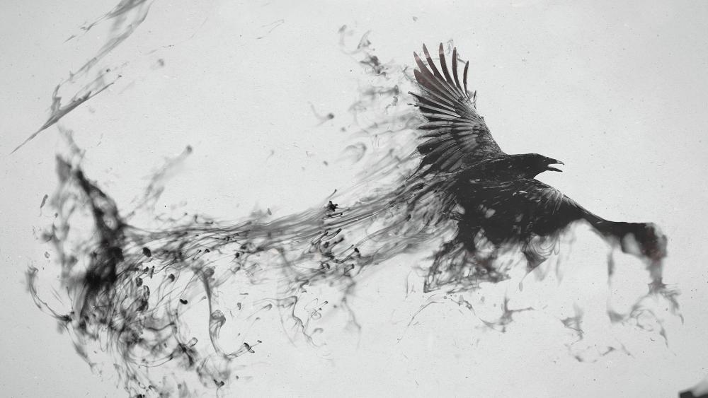 Flying raven artwork wallpaper