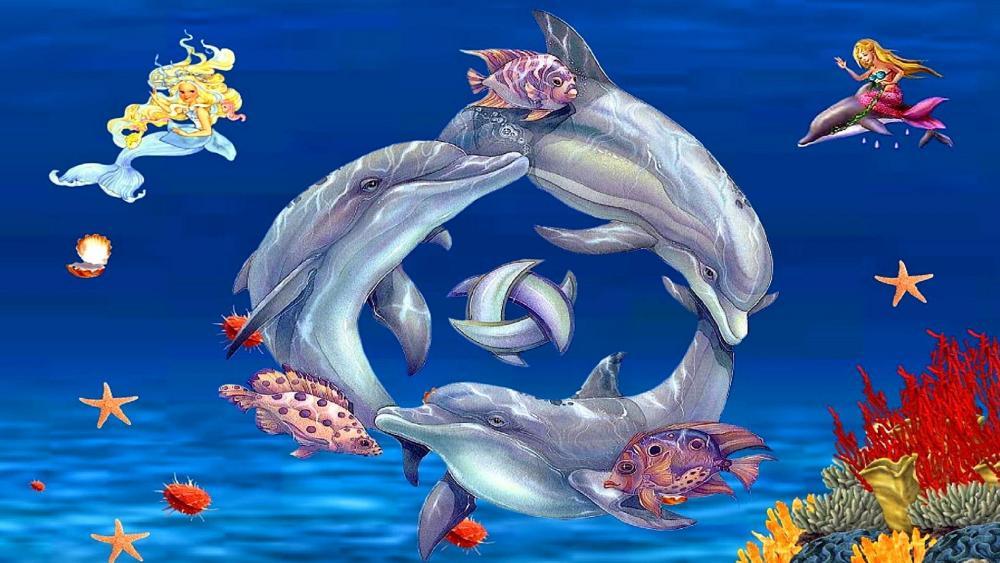 открывала картинки русалочки с дельфином сравнения покажу