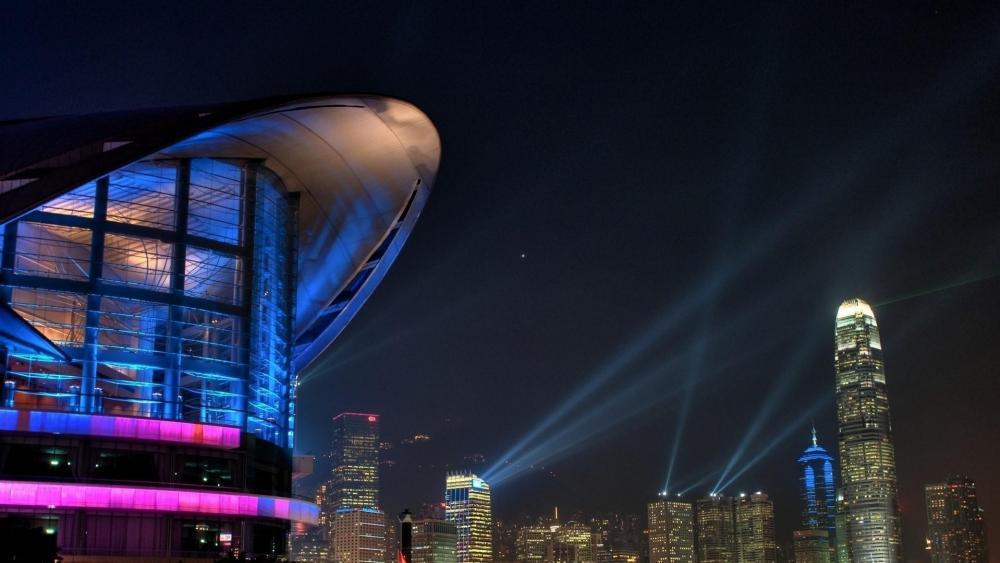 Hong Kong skyline at night wallpaper
