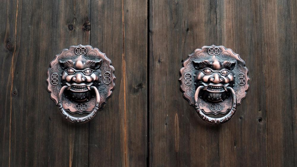 Lion head knocker wallpaper
