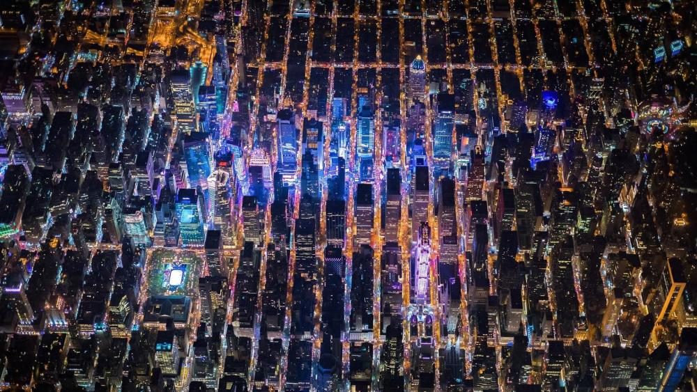 New York aerial view at night wallpaper
