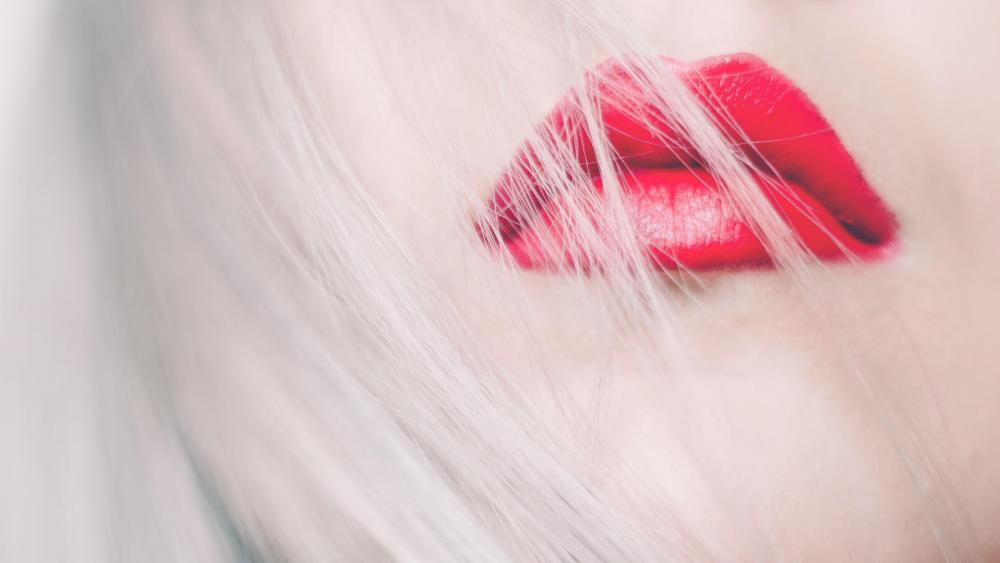 Red lips and white hair wallpaper