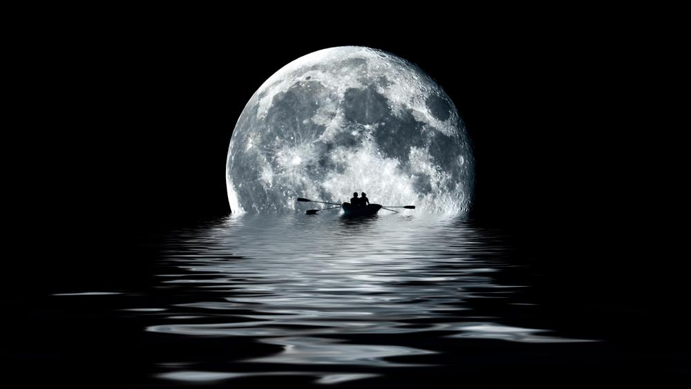 Rowing toward the moon wallpaper
