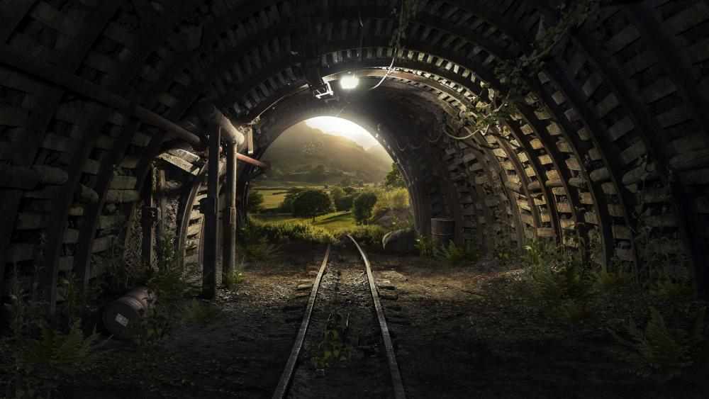 Mine tunnel wallpaper
