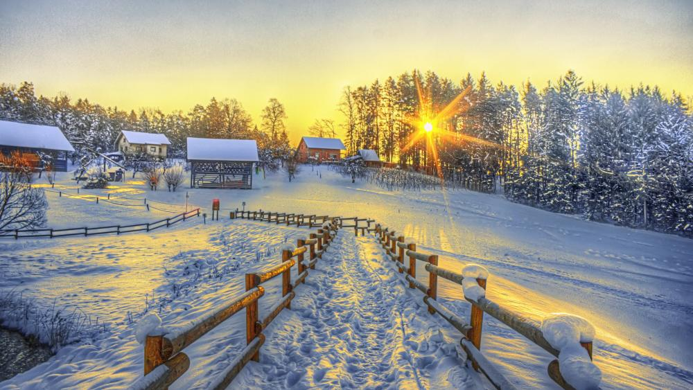 Footpath to a snowy village wallpaper
