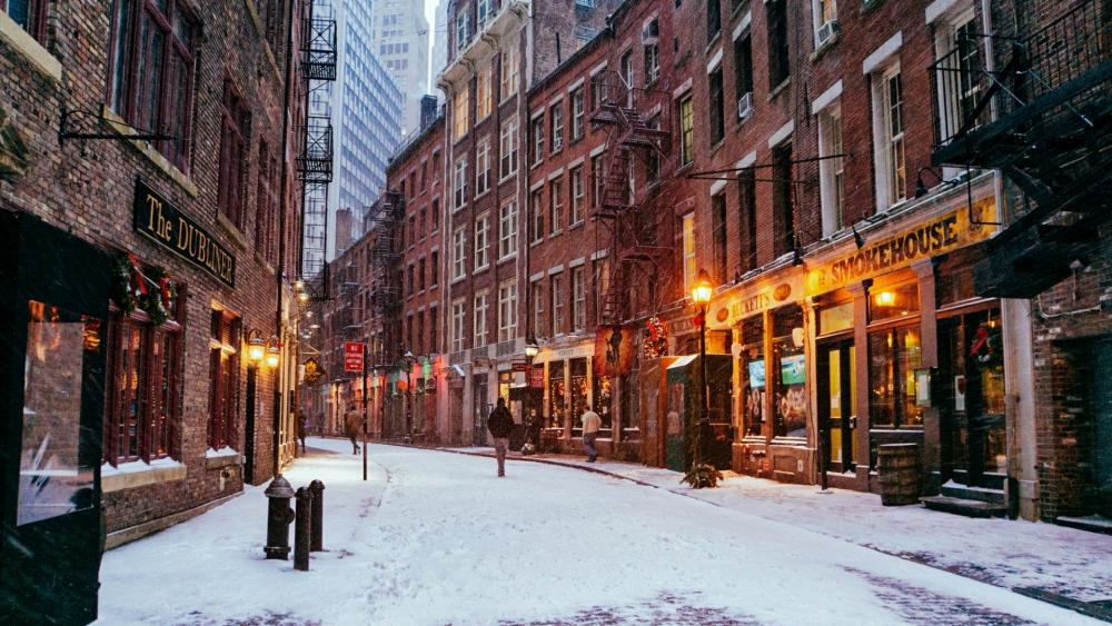 Stone Street in winter (Manhattan) wallpaper