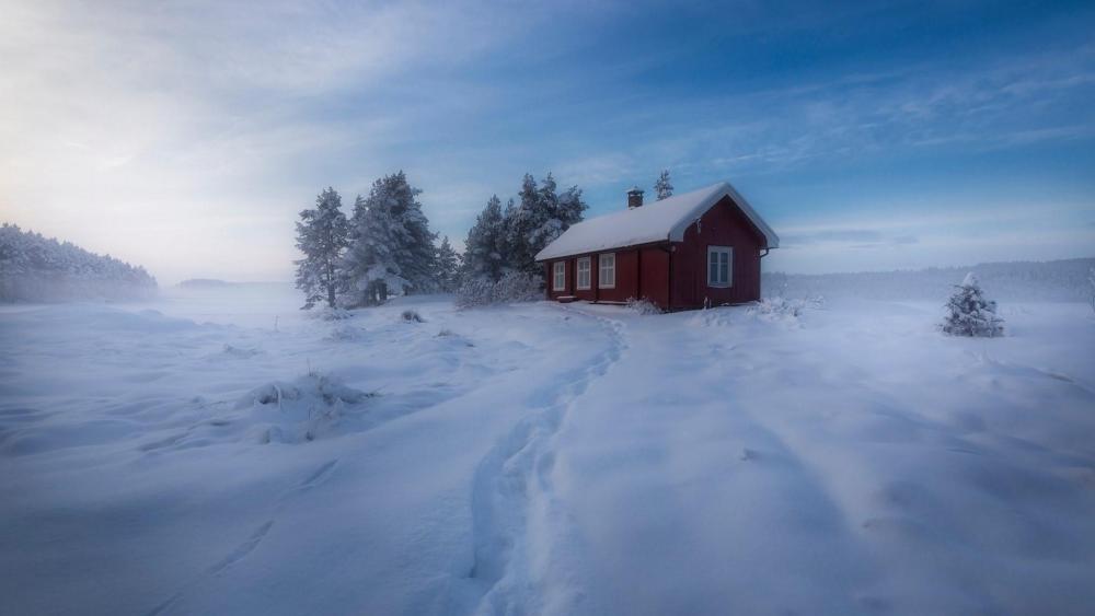 Snowy house in Norway wallpaper