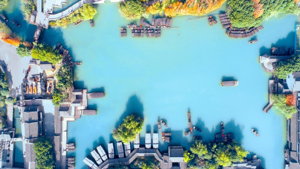 Wuzhen Water Town aerial view wallpaper