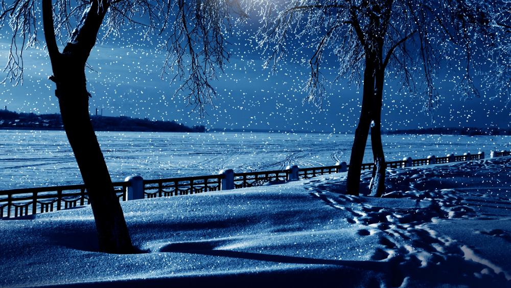 Night snowfall wallpaper