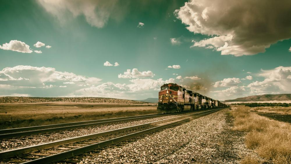 Train in the steppe wallpaper