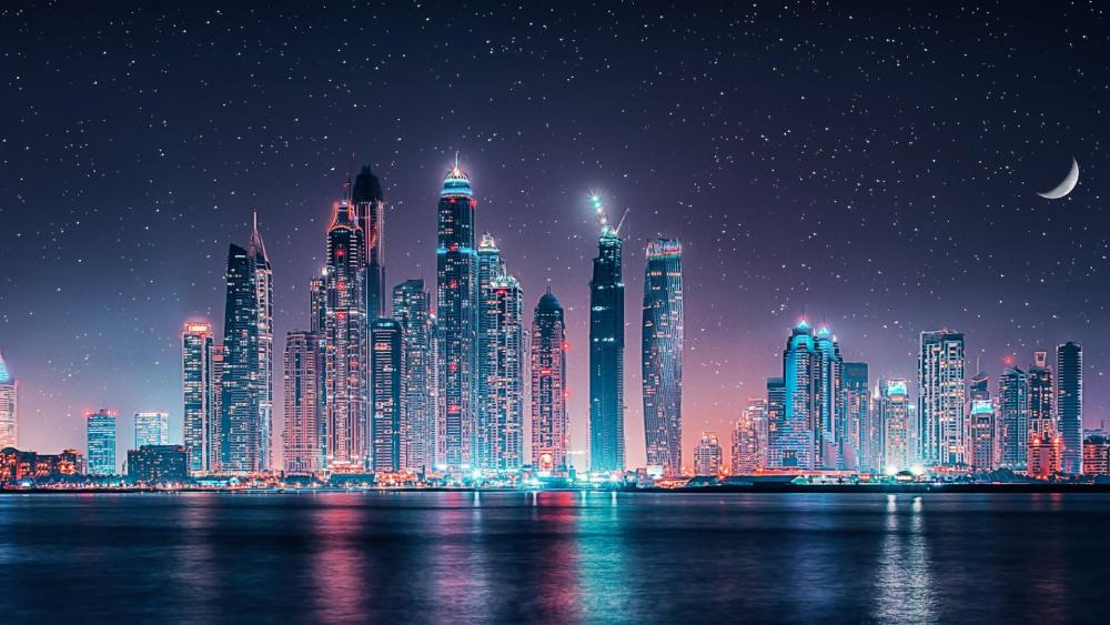 Dubai skyline at night wallpaper