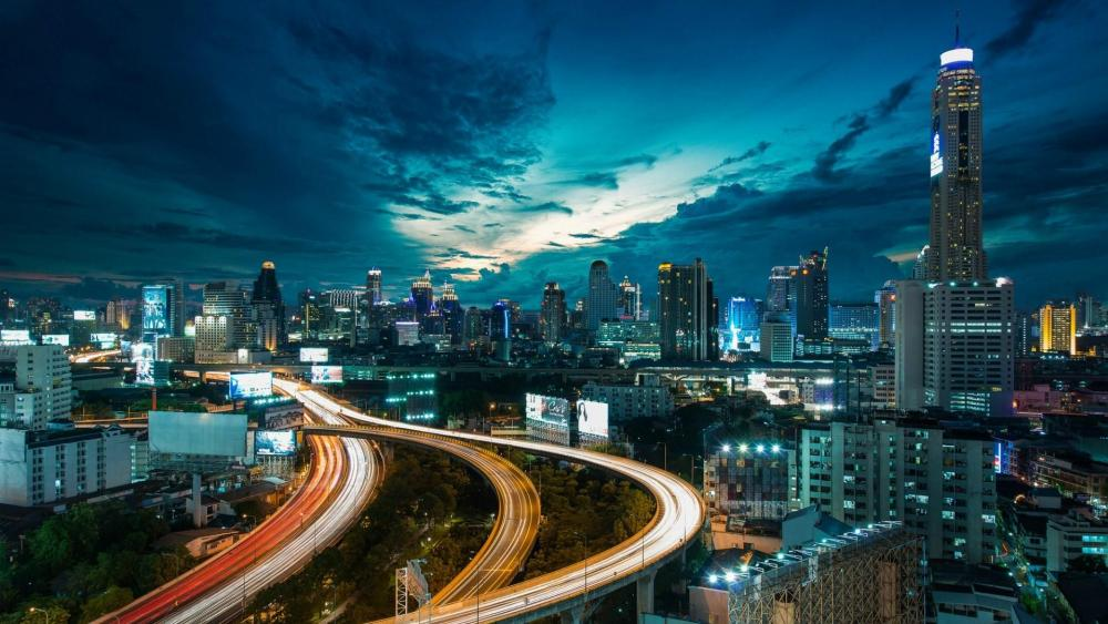 Bangkok skyline at night wallpaper