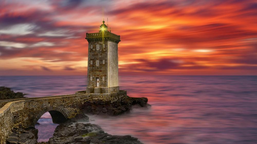 Lighthouse of Kermorvan at sunset wallpaper