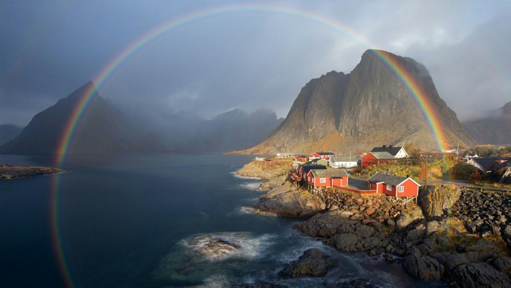 Rainbow over Hamnoy wallpaper