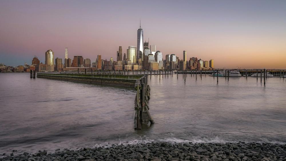 New York City skyline with One World Trade Center wallpaper