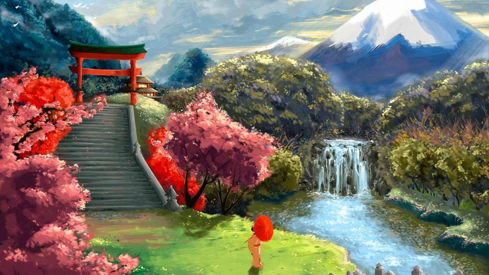 Japanese garden landscape - Painting art wallpaper