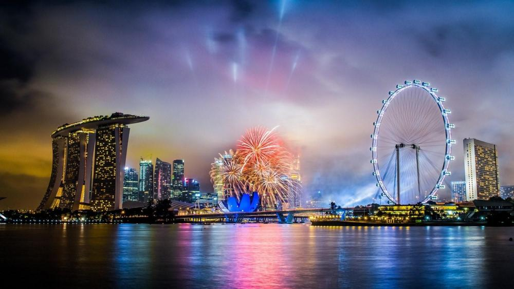 Singapore fireworks wallpaper