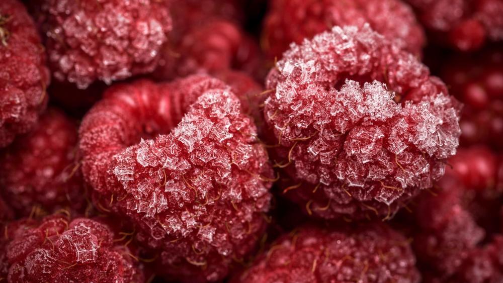 Frozen raspberries wallpaper