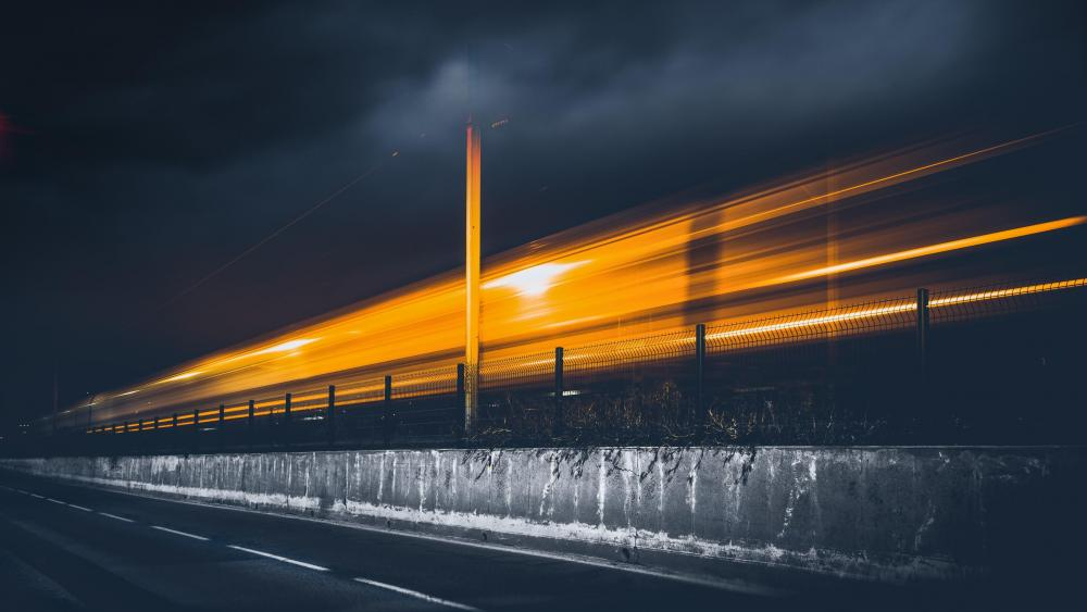 Train light trails - Long exposure photography wallpaper