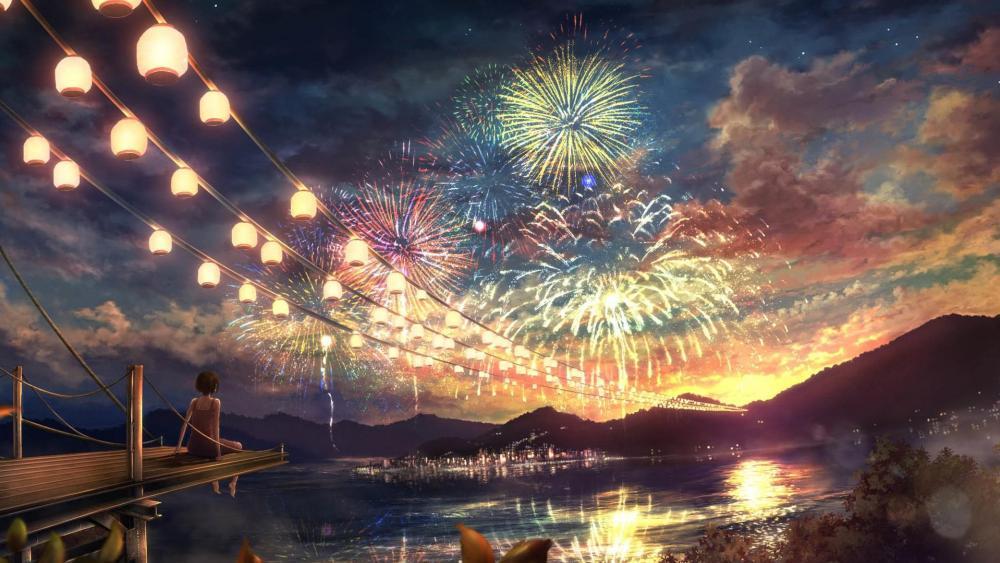 Anime Fireworks wallpaper