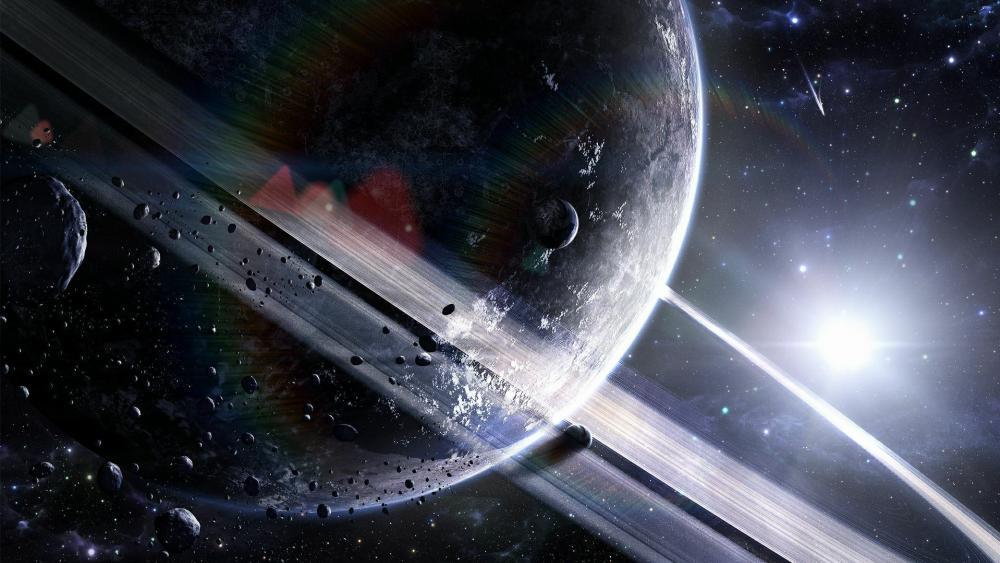 Saturn space art wallpaper