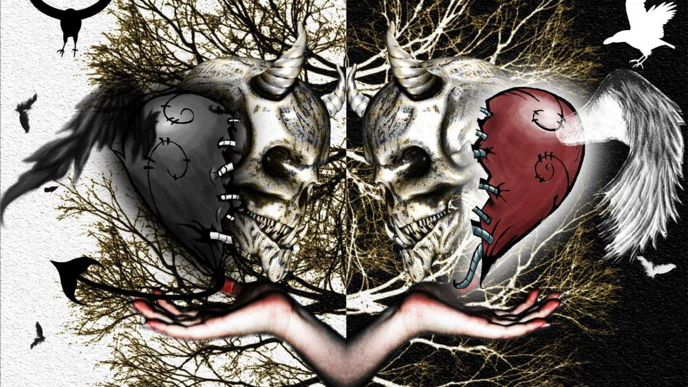 Skull love wallpaper