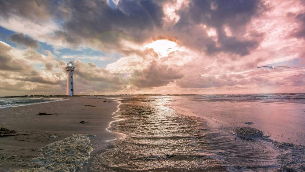 Lighthouse on the beach wallpaper