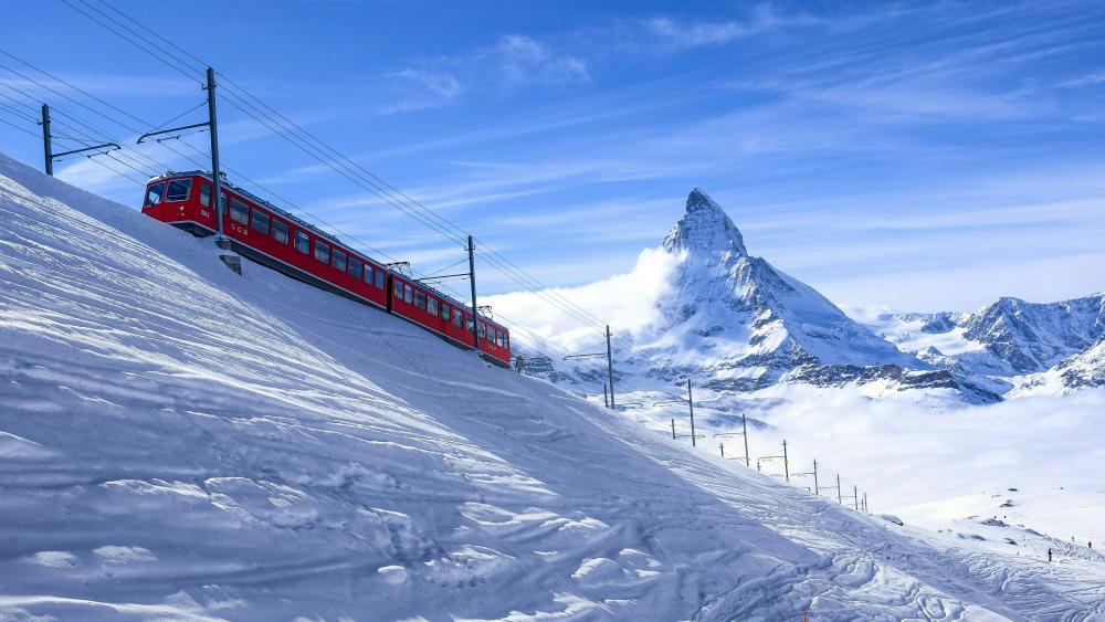 Matterhorn view with a red train wallpaper