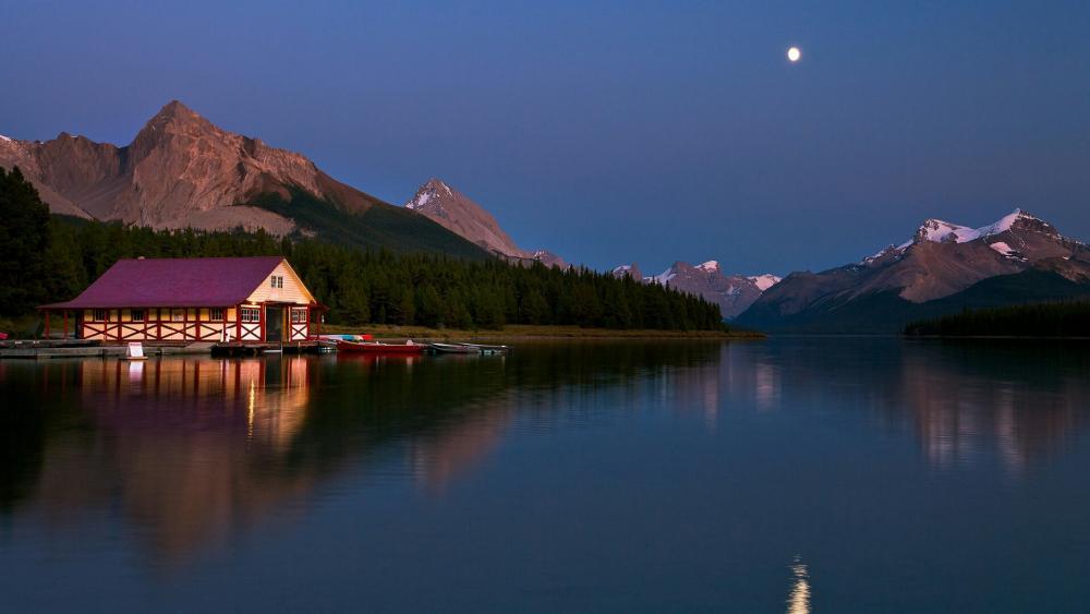 Maligne Lake at night (Jasper National Park, Canada) wallpaper