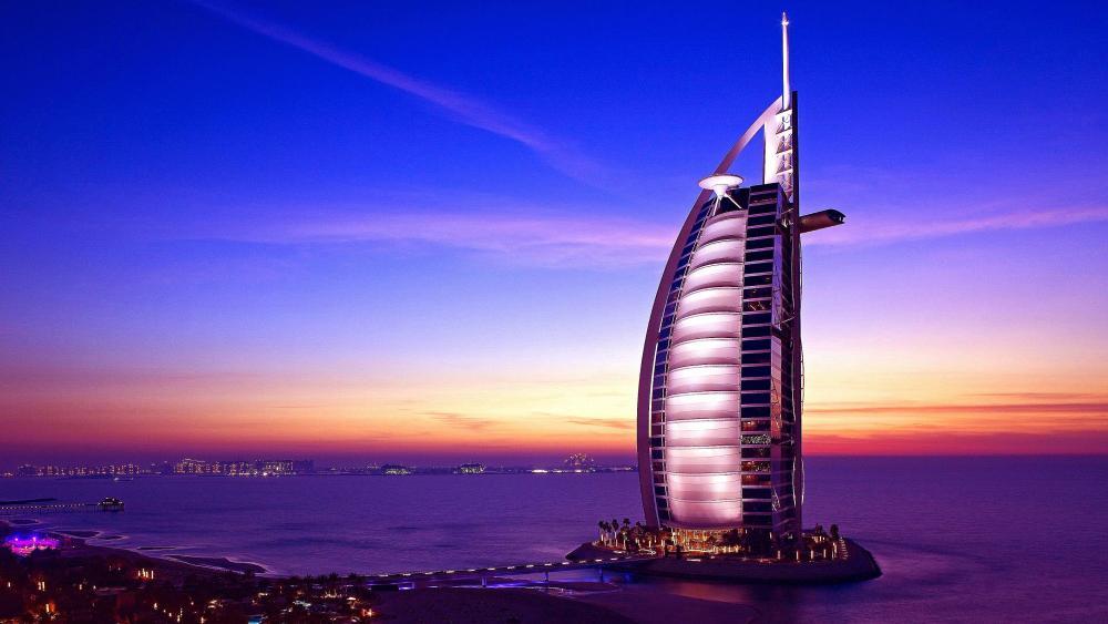 Burj Al Arab at sunset (Dubai) wallpaper