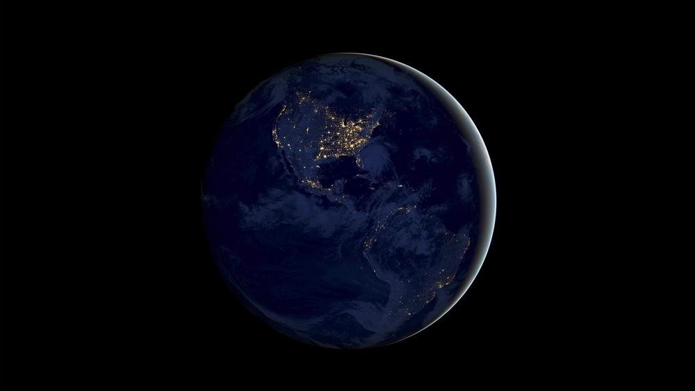 Earth in the dark space wallpaper