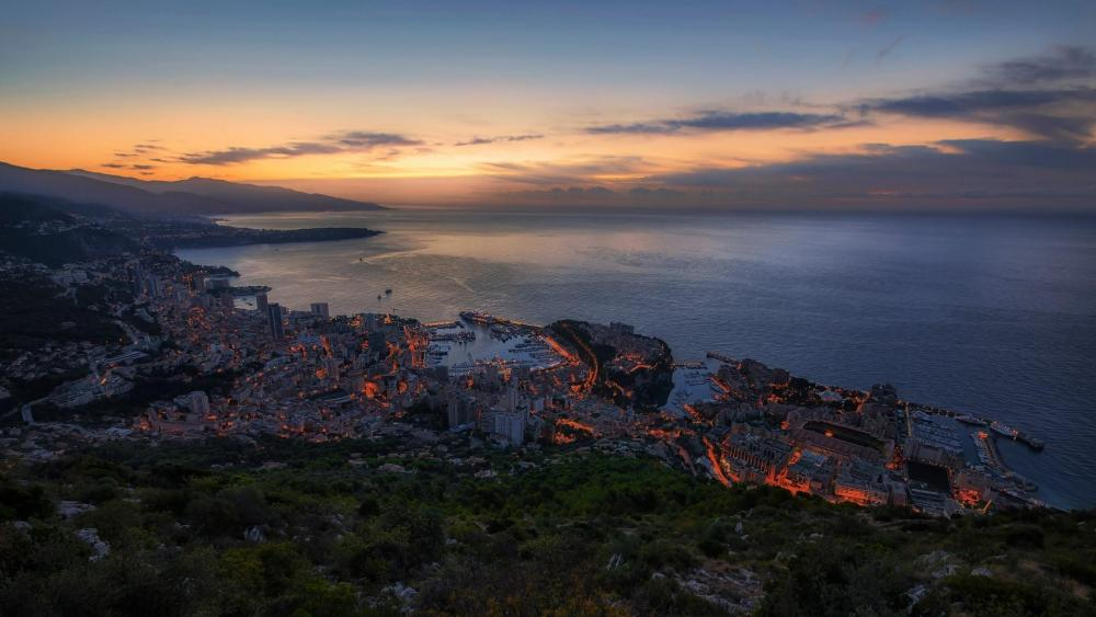 Monte-Carlo night skyline wallpaper