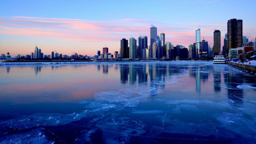 Chicago in winter wallpaper