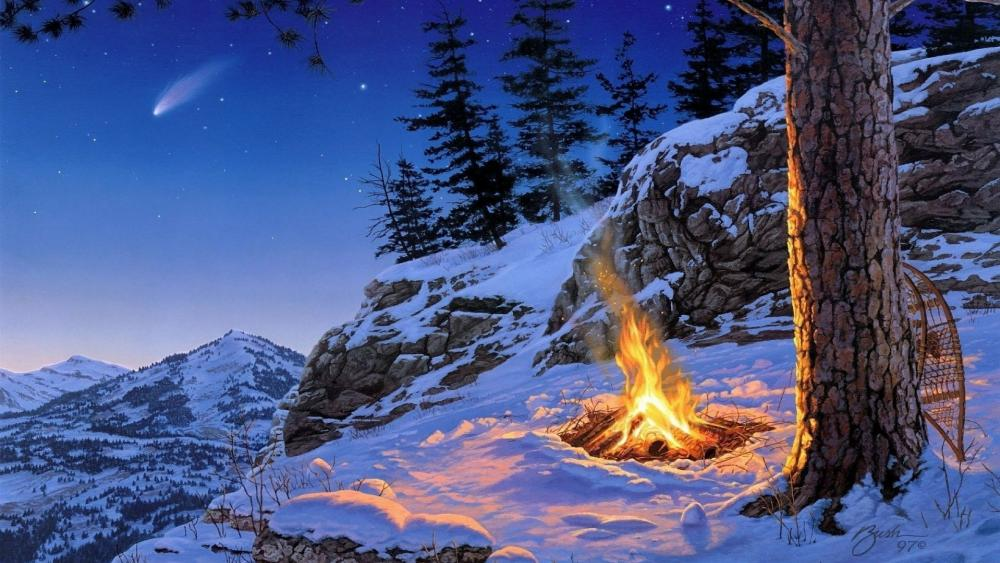 Snow shoes at the camp fire wallpaper