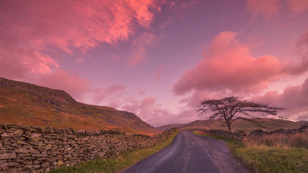 Kirkstone Pass pink sky wallpaper