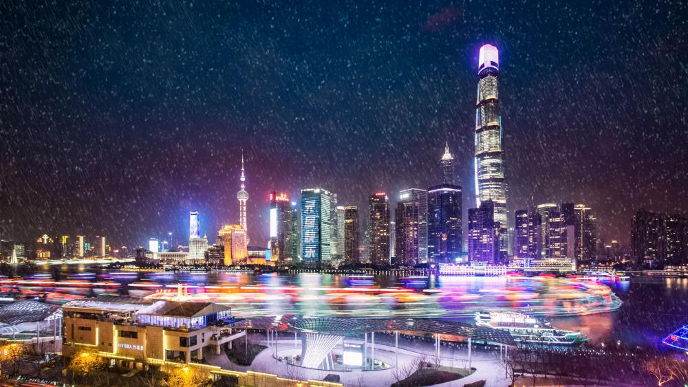 Snowfall in Lujiazui (Shanghai) wallpaper