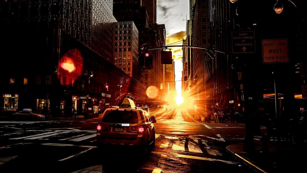Taxi cab in the sunset wallpaper