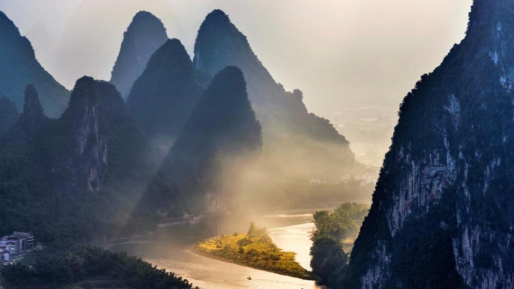 Yangshuo at dawn wallpaper
