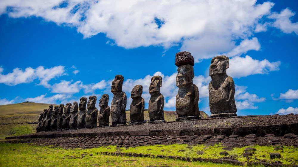 Moai Easter Island stone statues wallpaper
