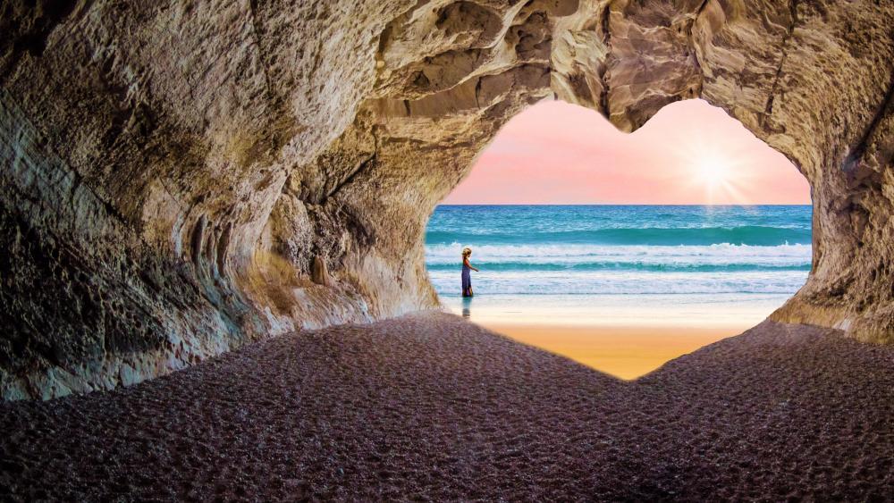 Seaside heart cave wallpaper