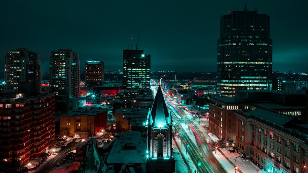 London at night (Ontario, Canada) wallpaper