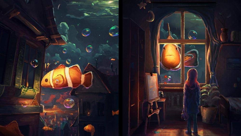Underwater room wallpaper